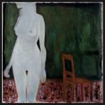 white woman with a red chair 150x150 cm